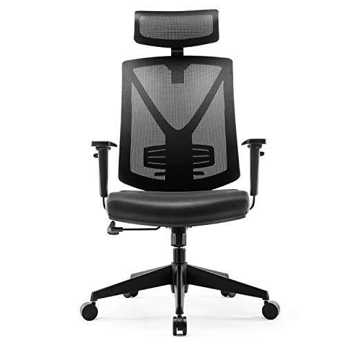 INTEY Silla de oficina, Sillas oficina Ergonomica, silla de escritorio Ajustables Apoyabrazos y soporte lumbar, transpirable y Material Fiable, Carga max.150kg