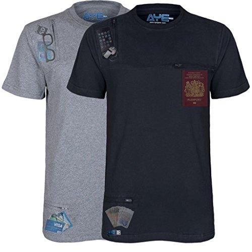 AyeGear T3 Tshirt With 3 Discreet Pockets, Premium Quality, Ultra Soft Touch Feel, Sports and Travel Tshirt, Grey XXXL