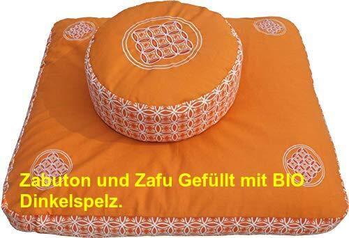 Meditationskissen Zafu (Buchweizenschale) und Meditationsmatte ZABUTON Extra Thick, Meditationszubehör, Meditationsset…