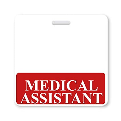 Medical Assistant Horizontal Badge Buddy With Red Border By Specialist ID Sold Individually