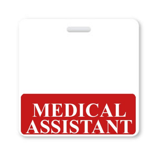 Medical Assistant Horizontal Badge Buddy with Red Border by Specialist ID, Sold Individually