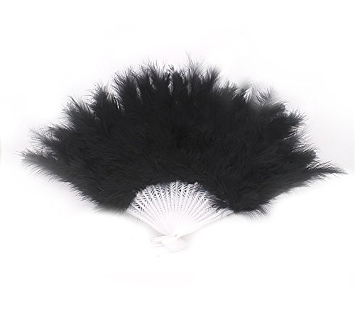 Reinhar Feather Fans burlesque Folding Dance Props Hand Fan For Women Halloween Wedding Party Supplies 14 Colors (Halloween Supplies Brisbane)