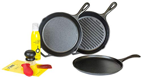 Lodge Cast Iron 7 Piece Gourmet Set (Lodge 5 Piece Cast Iron Cookware Starter Set)