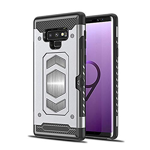Price comparison product image Note 9 Card Holder Case, Lozeguyc Shockproof Anti-Scratch Hard Shell Skin Soft TPU Rubber Hybrid Tough Bumper Armor Built-in Magnetic Metal Plate Case for Samsung Galaxy Note 9-Silver