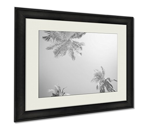 Ashley Framed Prints Tropical Palm Trees Sun Light Holiday, Wall Art Home Decoration, Black/White, 26x30 (frame size), AG6402904 by Ashley Framed Prints