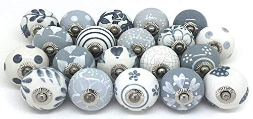 (12 Door Knobs Grey & White Hand Painted Ceramic Knob Cabinet Knobs Drawer Pull by Zoya's)