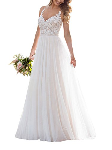 Doramei Women's Floor Length Bridal Gown A-Line V-Neck Tulle Lace Sleeveless Romantic Wedding Dress for Bride Ivory 10 ()
