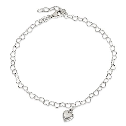 Mia Diamonds 925 Sterling Silver Solid Polished Fancy Link Puffed Heart with 1in Ext. Anklet Bracelet -9