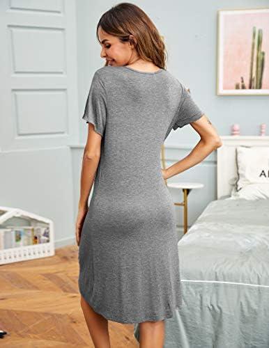 Sheshow Womens Nightgown Button Down Nightshirt Short Sleeve Sleepwear V Neck Boyfriend Pajama Dress S-XXL