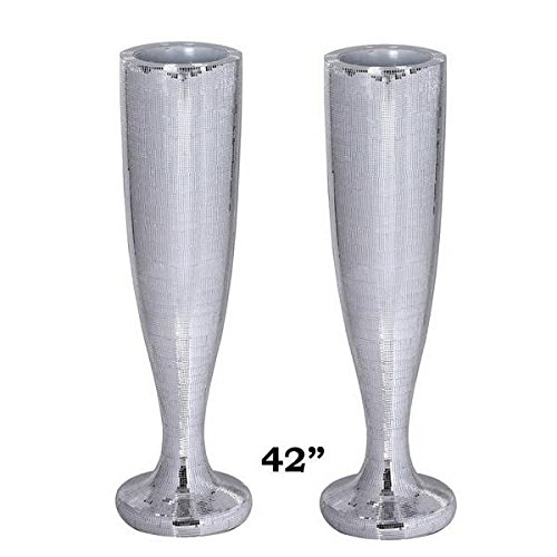 Tableclothsfactory 2PCS 42'' Sparkling Silver Mirror Mosaic Floral Vase Stand Holder For Wedding Aisle Decoration by Tableclothsfactory