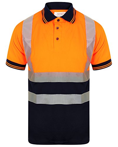 HuntaDeal Hi Viz VIS High Visibility Polo Shirt Reflective Tape Safety Security Work Button T-Shirt Breathable Lightweight Workwear Top Big Size Small to 7XL EN ISO 20471