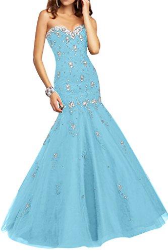 Festkleid Mermaid Damen Ivydressing Ausschnitt amp;Tuell Promkleid Steine Spitze Herz Abendkleid Himmelblau Sexy qzw6fxdwE