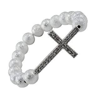 10mm Sideways Cross Bracelet, Shamballa Bracelet, Metallic White Ball Bracelet, #3