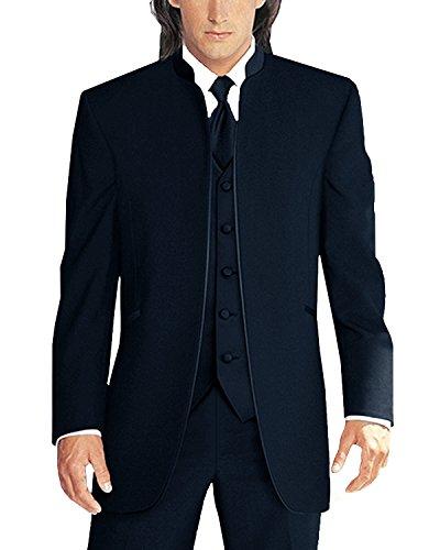 Lilis Men's 3 Pieces Wedding Suits Pure White Collar Three-Piece Tuxedo Suits -