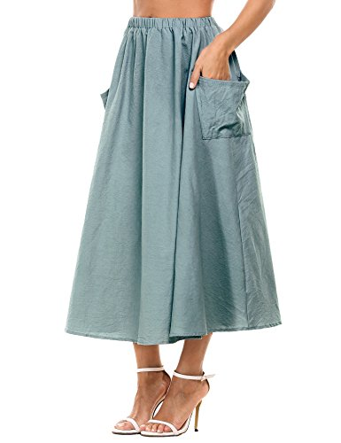 Zeagoo Women's Cotton Linen A-Line Flare Pleated Maxi Skirt With Pockets (Blue,S)