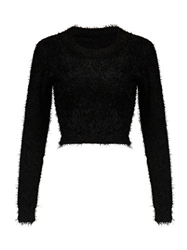 Joeoy Women's Black Fluffy Mohair Long Sleeve Crop Top Knit Sweater Jumper-M ()