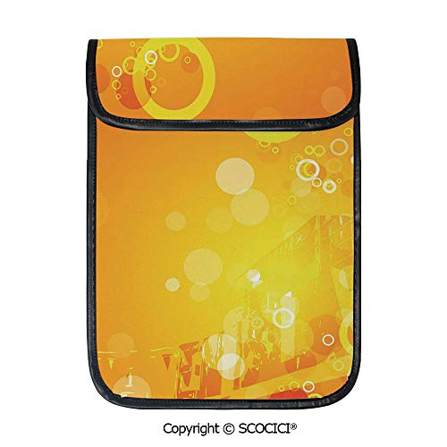 SCOCICI Tablet Sleeve Bag Case,Abstract Composition with Circles Dots Artistic Energetic Colors Sunburst Decorative,Pouch Cover Cases for iPad Pro 12.9 in and Any Tablet ()