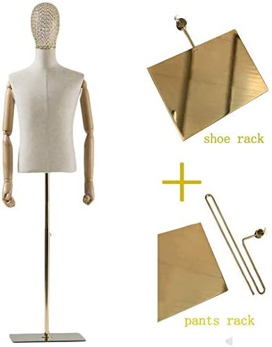 Color : #1 FW-Coat rack DYB-Tailors Dummy Adjsutable Golden Stand Male Mannequin Torso Body Dress Form Busts Manikin with Head Wooden Arms Dressform Mannequin