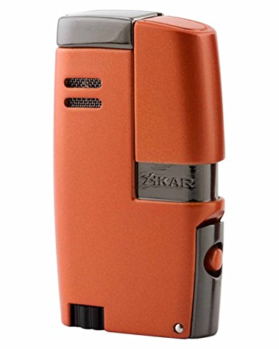 XiKAR Vitara Limited Edition Hot Rod Collection Double Torch Flame Cigar Lighter in an Attractive Gift Box Metallic Orange and Gunmetal by Xikar