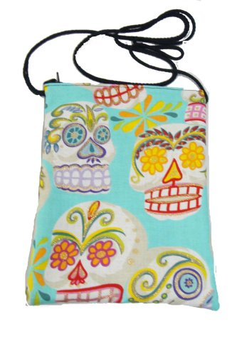 US Handmade Fashion Passport Cover Bag SUGAR SKULLS Day of the Dead Skulls Rockabilly Halloween Gothic Pattern Shoulder Bag US Handmade Handbag Purse Alexander Henry Cotton Fabric, BLUE Color, PT 1009]()