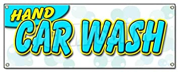 hand car wash banner sign detail wax car wash clean auto service