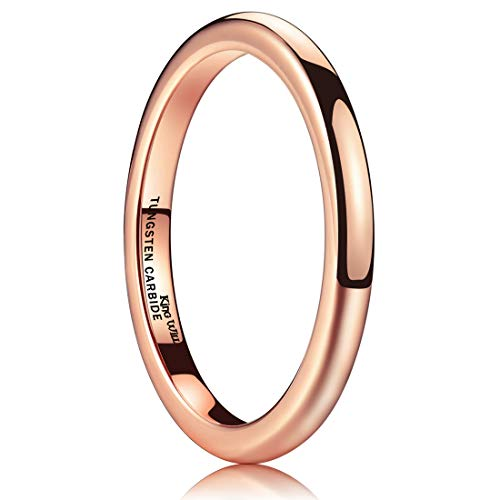 - King Will Glory 2mm Thin Rose Gold Plated Polish Comfort Fit Domed Tungsten Carbide Ring Wedding Band(4.5)