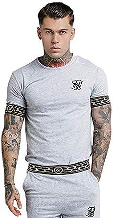 SikSilk - Camiseta - Manga Corta - para hombre Gris gris XL: Amazon.es: Ropa y accesorios