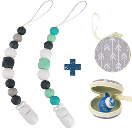 Silicone Pacifier Clip by Dodo Babies Pack of 2 + Pacifier Case, Premium Quality Modern Designs Universal Holder Leash for Boys and Girls, Teething Toy or Soothie, Baby Shower Gift Set ()