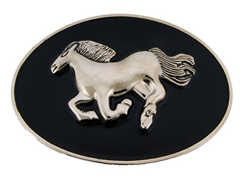 Running Horse Belt Buckle Black Silver Oval Unisex Texas Us Style Western Rodeo from Generic/Buckleszone