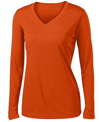 Ladies Long Sleeve Moisture Wicking Athletic Shirts Sizes XS-4XL ORANGE-XS ()