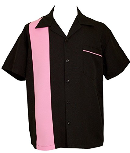 Men's 50's Retro Short-Sleeve Black Pink Bowling Shirt ~ Hot Pink - Bowling Shirt Pink