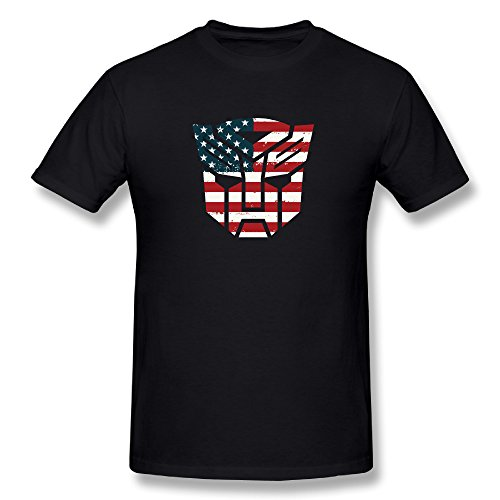 SEagleo Men's Transformers Autobots Logo American Flag Tee Black X-Large