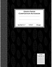 """Graph Paper Composition Notebook, Quad Ruled 5 squares per inch, 100 pages: 9.75 in. x 7.5 in. (9 3/4"""" x 7 1/2""""), Quad Ruled 5x5 Composition Notebook, Gray Leaves Cover, Black Graph Composition Book, Soft Cover"""