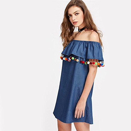 Minetom Mujer Verano Vestido Corto Casual Elegante Hoja de Loto Sin Tirantes Manga Corta Mini Dress de Playa Azul
