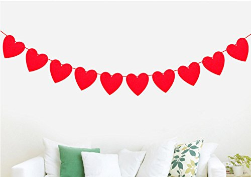 Red Heart Decorations Banner for Wedding, Birthday and Kids Party