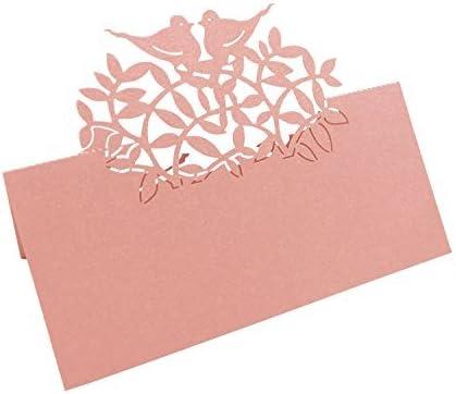 T-shin 50PCS Wedding Guest Name Place Cards Party Table Name Place Cards Paper Table Numbers Place Card Escort Name Card Laser Cut Design for Wedding Party Decoration Favor Blue-Flower