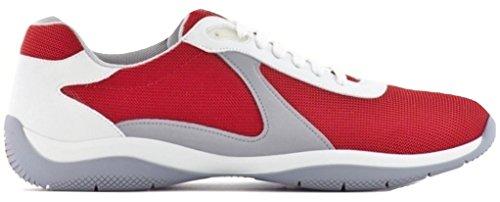 da Rete 4e3075 Sneaker Pelle Uomo Tessuto Up Scarpe e Plume Lace Prada Rosso a8YdqIww