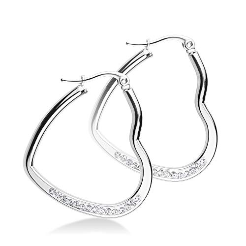 555Jewelry Womens Stainless Steel CZ Hypoallergenic Comfort Elegant Gift Jewelry Accessory Lightweight Hinged Durable Heart Shape Love Dressy Classic Large Hoop Fashion Earrings, Silver ()