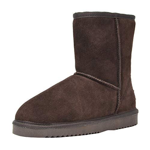 DREAM PAIRS Women's Shorty Brown Sheepskin Fur Ankle High Winter Snow Boots - 7 M US ()