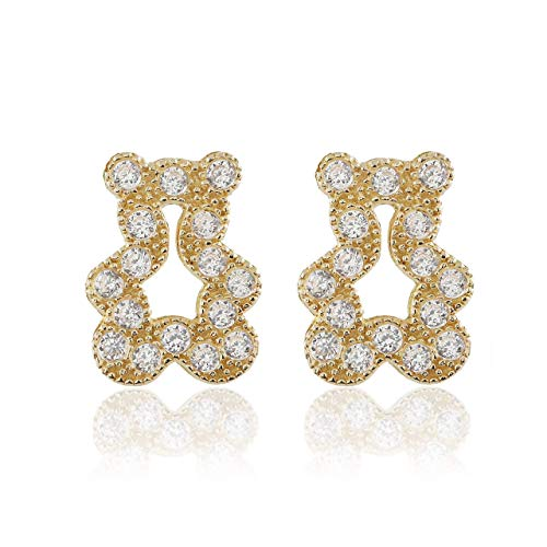 BallucciToosi Baby Girl Earrings - 14K Solid Yellow Gold Small Unique Earring in the Shape of a Cute Teddy Bear with Cubic Zirconia and Screw ()