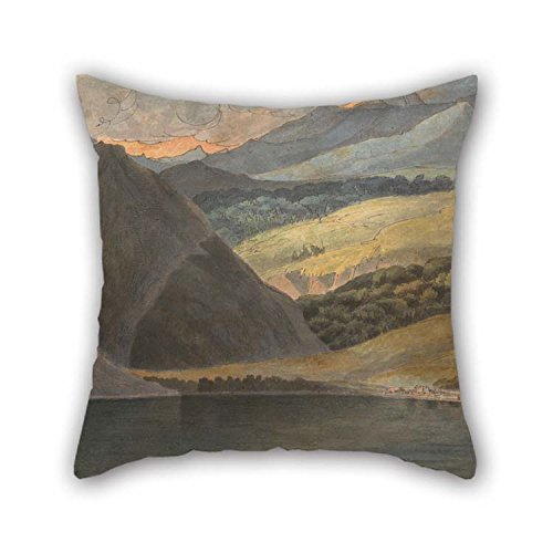 16 X 16 Inches / 40 By 40 Cm Oil Painting Francis Towne - View On Lake Maggiore At Evening Throw Cushion Covers Twice Sides Ornament And Gift To Deck Chair Kids Boys Play Room Adults Bar Son