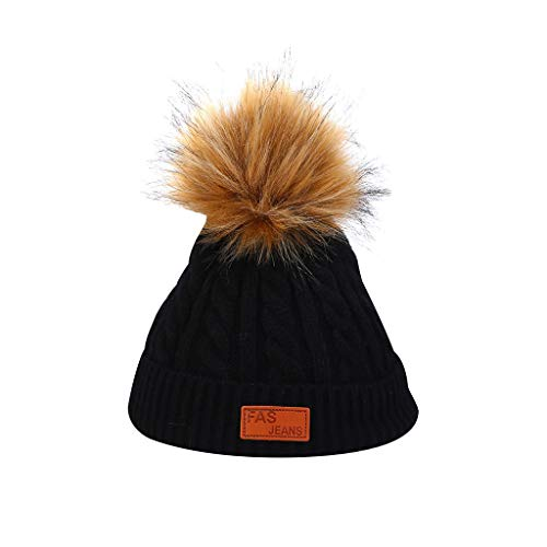 Fashion Pom Pom Knit Hat,Crytech Winter Warm Twist Crochet Wool Knitted Cable Cuffed Beanie Cap Solid Color Knitting Skull Snow Ski Hat for Women Girls Outdoor Keep Warm (Black)