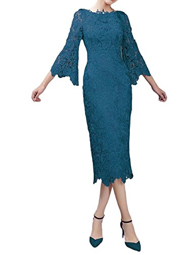 LMBRIDAL Women's Lace Mother of The Bride Dress with Sleeves Tea Length Jade 14