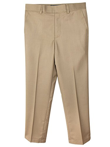 Spring Notion Boys' Flat Front Dress Pants 10 Khaki (Brown Suiting)