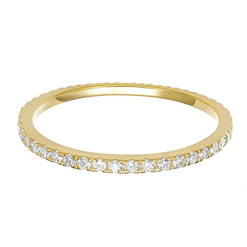 PAVOI AAAAA CZ 14K Yellow Gold Plated Silver Cubic Zirconia Stackable Eternity Ring - Size 8 (Gold Rings For Women For Wedding)