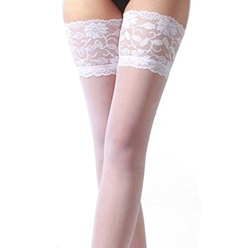 Yoyorule Womens Lace Top Silicone Band Thigh High Stockings Pantyhose (Lace Band Panties)