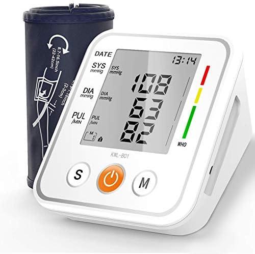 NWOUIIAY Blutdruckmessgerät Oberarm Vollautomatische Blutdruck Automatisches Oberarm-Blutdruckmessgerät Mit2 User Memories (2 * 99) und großem 3,5-Zoll-LED-Display