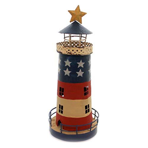 Home & Garden LITEHOUSE TEALIGHT Holder Patriotic Candle Flag Primitive 65876