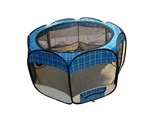 Soft Sided Exercise Pen (Blue Grid Pet Dog Cat Tent Puppy Playpen Exercise Pen S by BestPet)