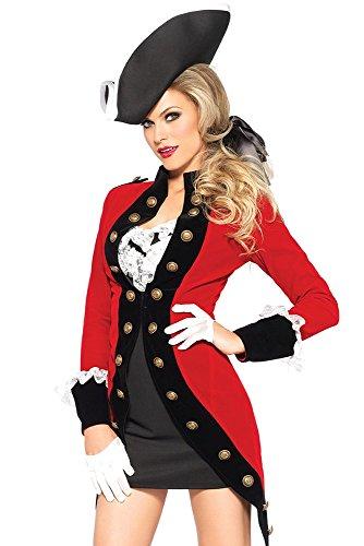 Leg Avenue Tie - Leg Avenue Women's 4 Piece Rebel Red Coat Soldier Costume, Red/Black, Small